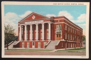 First Baptist Church, Newton, Kansas, C.T. American Art Colored 1940-29