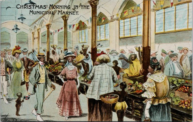 Christmas Morning In Municipal Market Calcutta India Unused Postcard E39