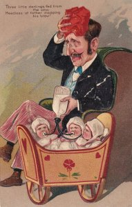 COMIC, 1900-10s; Father feeding his triplet babies, mopping his brow, Embossed