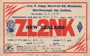 New Zealand QSL To Blenheim Antique 1930s Radio Postcard