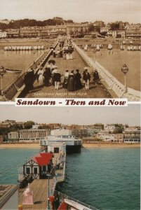 (aw43) Sandown from the Pier Then and Now - Isle of Wight Postcard