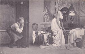 German Peeping Tom Risque Antique Old Postcard