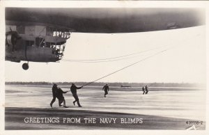 Sailors Mooring A Blimp Greetings From The Navy Blimps Real Photo sk55