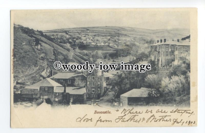 tq1390 - Very Early View of Valley of Boscastle Village before Floods - postcard