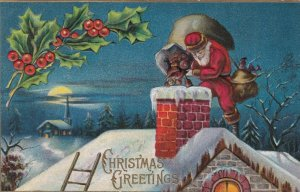 CHRISTMAS, 1909 ; Santa Claus dumps gifts down a chimney