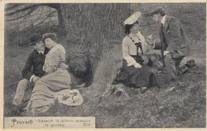 Speech Is Silver Silence Is Golden Real Photo Proverb Old Postcard
