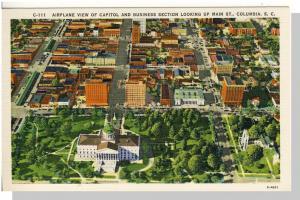 Columbia, SC Postcard, Capitol/Main St. Aerial, Near Mint!