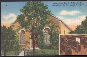 Pennsylvania GETTYSBURG Presbyterian Church Insert Pew Lincoln Occupied - LINEN