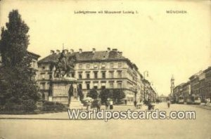 Ludwigstrasse mit Monument Ludwig I Munchen Germany 1912 Missing Stamp