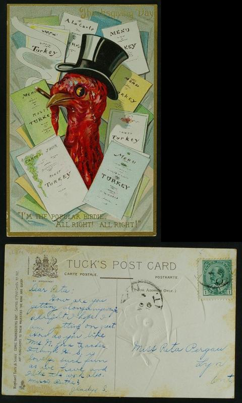 Thanksgiving turkey with menus pmk 1910 G-VG