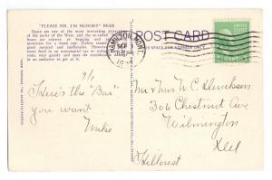 Begging Bear at Car Window 1939 Vintage Linen Postcard