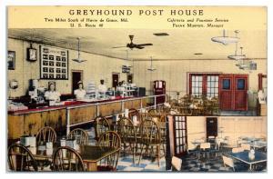 Greyhound Post House Interior, Havre de Grace, MD Postcard *5E2