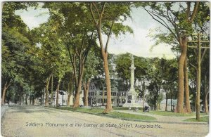 Vintage Postcard, Soldier's Monument at the corner State st., Augusta, Maine