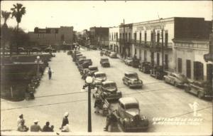 Matamoros Tamps Mexico Street Scene Old Cars Real Photo Postcard