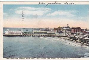 New Jersey Atlantic City Birds Eye View Of Steel Pier Hotels Strand And Chalf...