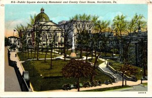 Pennsylvania Norristown Public Square Showing Monument and County Court House...