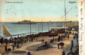 Brighton The Bathing Place & West Pier Esplanade Boats Postcard