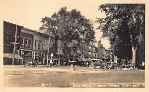 Gouverneur NY Main Street Storefronts Old Cars Real Photo Postcard