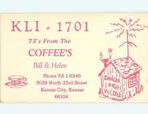 comic - QSL CB HAM RADIO CARD Kansas City Kansas KS t9520