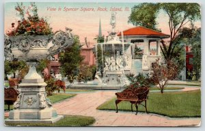 Rock Island IL~Spencer Square Sculpture Fountain~Band Stand~Flower Urn~c1910