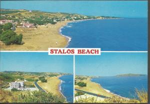 Postcard Multiview Stalos Beach CRETE Krete Greece