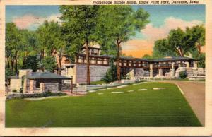 Iowa Dubuque Eagle Point Park Promenade Bridge Room 1950 Curteich