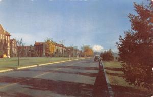Fort Lewis Washington~Permanent Barracks~1940s Car~Mt Rainier~1950 Postcard