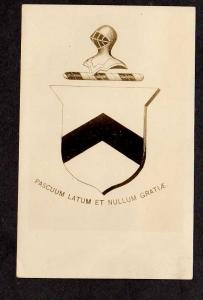 Coat of Arms Bradley, Family Crest Sheild, Real Photo Postcard RPPC RP