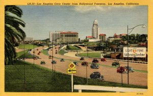 CA - Los Angeles. Civic Center from Hollywood Freeway