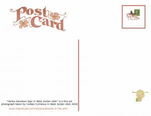 Set of 6 Fine Art Photography Postcard Harley Davidson Sign in West Jordan Utah