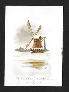 VICTORIAN TRADE CARDS (2) Winter Scene & Windmill