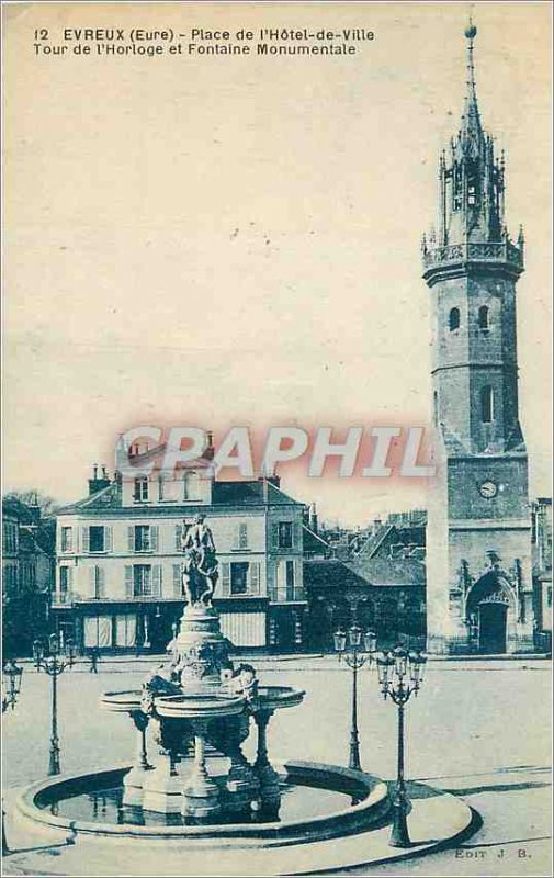 Old Postcard Evreux (Eure) Square City Hall Clock Tower and Monumental Fountain