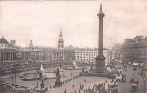 Trafalgar Square, London, England, Early Postcard, Unused