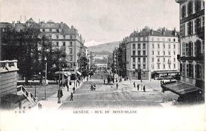 Switzerland Old Vintage Antique Post Card Geneve Rue du Mont Blanc Unused