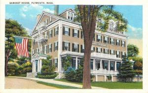 Plymouth Massachusetts~Samoset House~American Flag~Fire Escapes~1920s