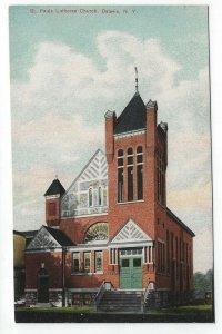 Batavia, New York, Vintage Postcard Viiew of St. Pauls Lutheran Church
