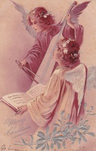 CHRISTMAS, 1900-1910s; Merry Christmas, Angels Playing Music And Singing