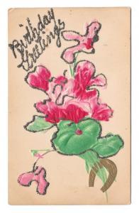 Birthday Greetings Applied Glitter Flowers Horseshoe Vintage Embossed Postcard