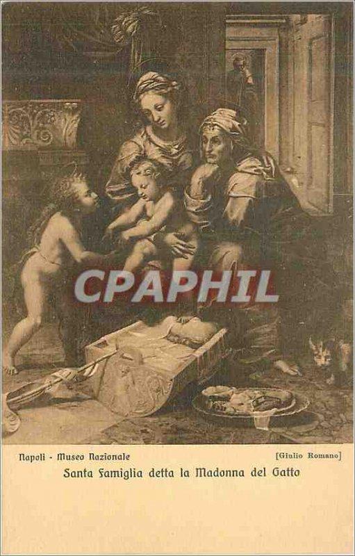Postcard Old Napoli Museo National Santa Famiglia Detta La Madonna del Gatto ...