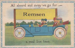 REMSEN, New York, PU-1919; All Aboard And Away We Go For Remsen A Real Live Town