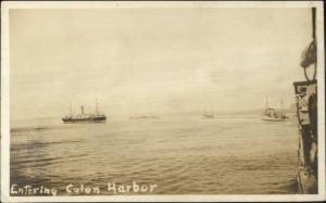 Ships Entering Colon Harbor Panama c1920 Real Photo Postcard