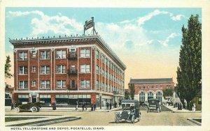 Automobiles Hotel Yellowstone Depot Pocatello Idaho C-1910 Postcard Teich 10590