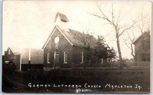Mapleton, Iowa RPPC Photo Postcard GERMAN LUTHERAN CHURCH Building View 1907