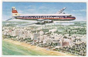 National Airlines DC 7 Aircraft Plane 1955 postcard
