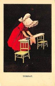 Tuesday, Reproduction Girl ironing Sun Bonnet Unused
