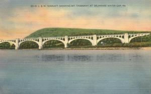 DL&W Railroad Viaduct and Mt. Tammany Delaware Water Gap PA Pennsylvania - Linen