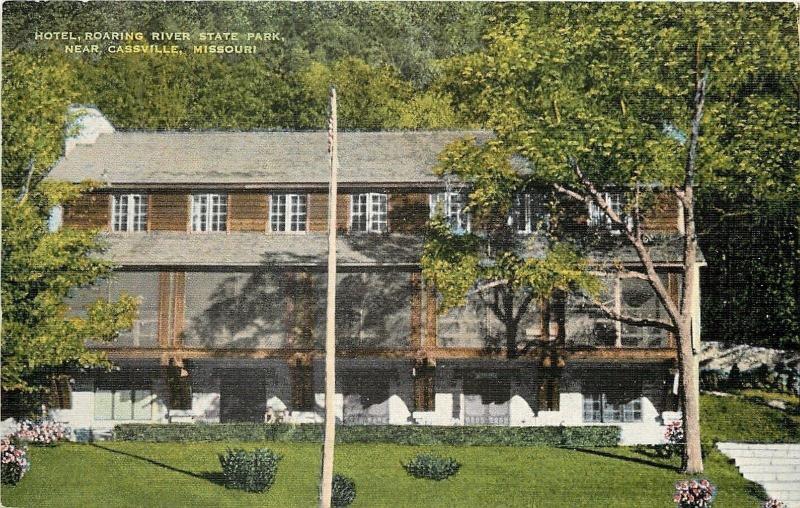 Cville Missouri Roaring River State Park Hotel Pond 1950s Linen Postcard