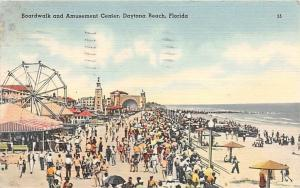 DAYTONA BEACH FL BOARDWALK & AMUSEMENT CENTER POSTCARD c1949