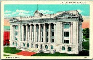 Greeley, Colorado Postcard WELD COUNTY COURT HOUSE Curteich Linen / 1955 Cancel