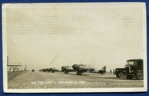 US Army Air Corp San Angelo Texas Air Field on the Flight Line photo postcard